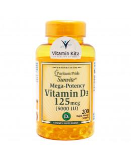 Puritans Pride Vitamin D3 125mcg 5000IU-200 Softgels