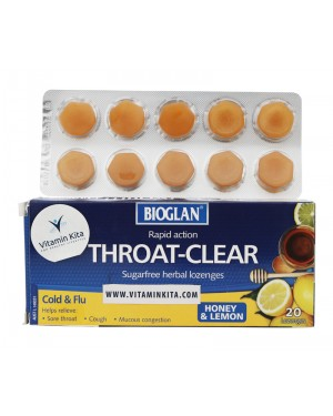 Bioglan Throat Clear Honey And Lemon Flavour (20 lozenges)