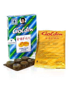 GOLDEN THROAT LOZENGES 12 TAPS PERMEN PELEGA TENGGOROKAN SSA