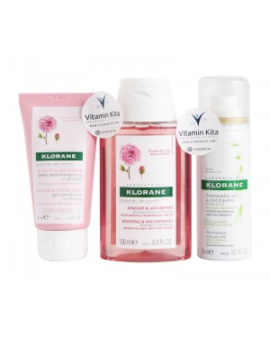Klorane Soothing On The Go With Peony Travel Size (Shampoo Conditioner And Dry shampoo)-1 Pack