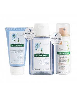 Klorane Volumising On The Go W/Flax Fiber Travel Size (Shampoo, Conditioner, and Dry shampoo)-1 Pack
