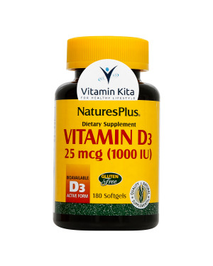 Natures Plus Vitamin D3 25mcg 1000IU-180 Softgels KK