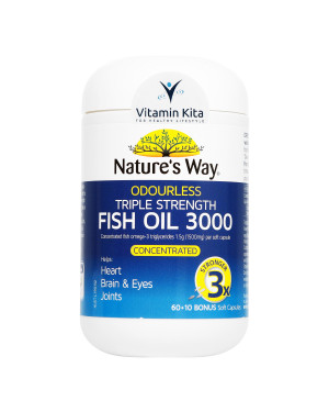 Natures Way Odourless Triple Strength Fish Oil 3000-60+10 Bonus Caps