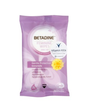 BETADINE FEMININE WIPES GENTLE PROTECTION IMMORTELLE FOR DAILY USE - 10 SHEETS
