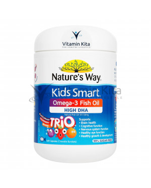 Natures Way Kids Smart Omega 3 Fish Oil Trio High DHA 6 Plus Month (180 SoftCaps)